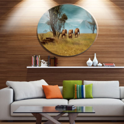 Designart African Elephants PanoramaAfrican MetalCircle Wall Art