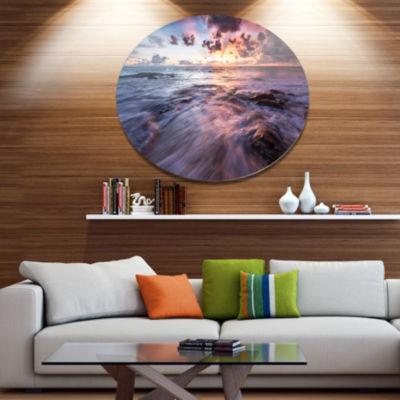 Designart Waves Hitting Rocky BeachBeach Photo Metal Circle Wall Art