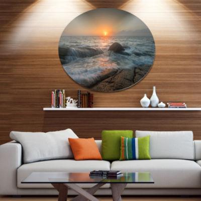 Designart Lashing Sea Waves At SunsetBeach PhotoMetal Circle Wall Art