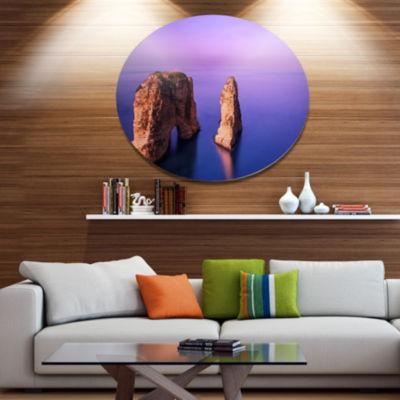 Designart Rawsha Rock on SunsetSeascape Metal Circle Wall Art