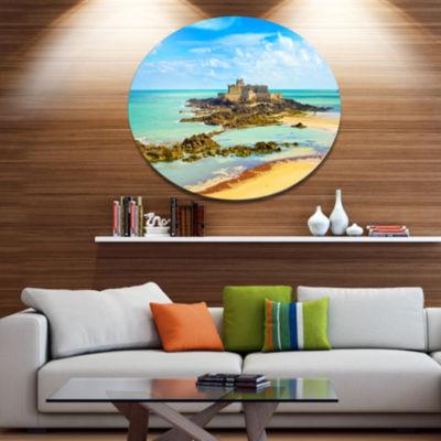 Designart Saint Malo Fort National Beach Disc Seascape Metal Circle Wall Art