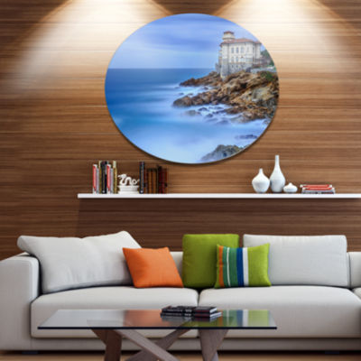 Designart Beautiful Italian Seashore View Disc Seascape Metal Circle Wall Art