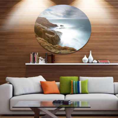 Designart Dark Red Rocks and Foam Waves Disc Seascape Metal Circle Wall Art