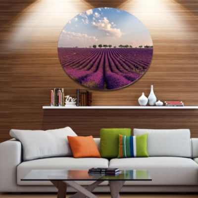 Designart Shiny Lavender Field in Provence Disc Landscape Metal Circle Wall Art