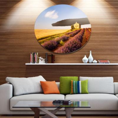 Designart Grain Fields with Lavender Rows Disc Landscape Metal Circle Wall Art