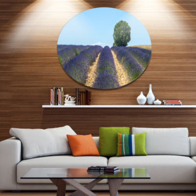 Designart Beautiful Rows of Lavender in France Disc Landscape Metal Circle Wall Art