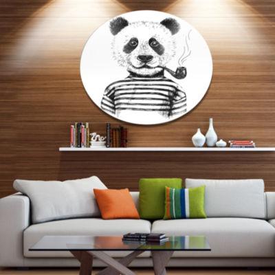 Designart Hipster Pandas Black and White Disc Animal Metal Circle Wall Art