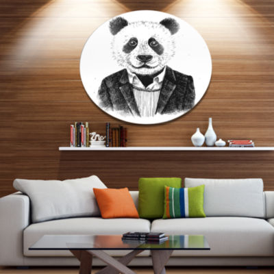 Designart Funny Hipster Panda Black White Disc Animal Metal Circle Wall Art