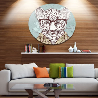 Designart Hipster Leopard with Glasses Disc AnimalMetal Circle Wall Art