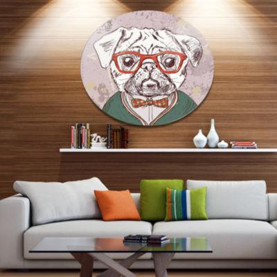 Designart Hipster Pug Dog in Vintage Style Disc Animal Metal Circle Wall Art