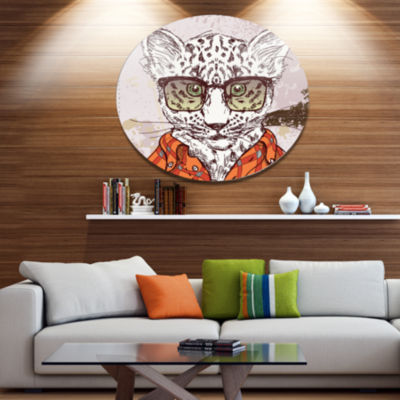 Designart Funny Hipster Leopard with Glasses DiscAnimal Metal Circle Wall Art