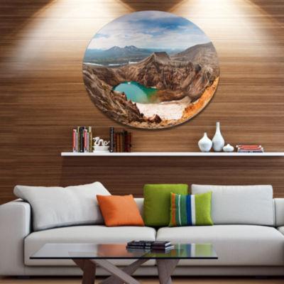Designart Acid Lake in Volcanic Crater Disc Landscape Metal Circle Wall Art