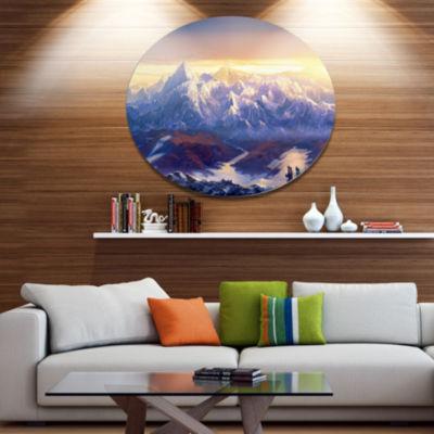Designart Winter Mountains with Tourists Disc Landscape Metal Circle Wall Art