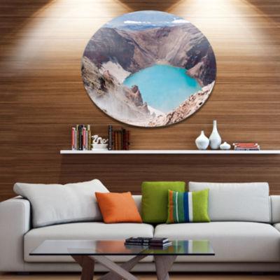 Designart Crater of Volcano Goreliy Disc LandscapeMetal Circle Wall Art