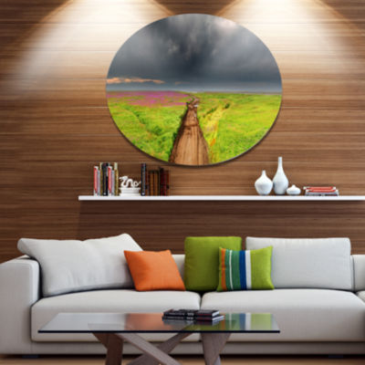 Designart Dirty Road in Blossoming Field Disc Landscape Metal Circle Wall Art