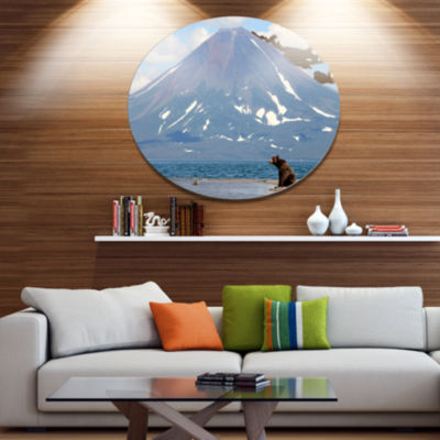 Designart Large Bear in Front of Volcano Disc Landscape Metal Circle Wall Art