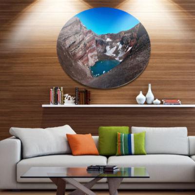 Designart Volcano Kamchatka Panorama Disc Landscape Metal Circle Wall Art