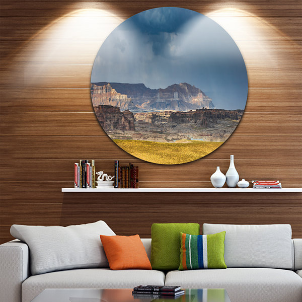 Design Art Lake Powell Panorama Landscape Round Circle Metal Wall Art