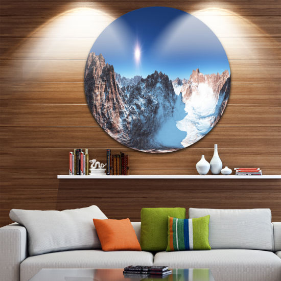 Design Art Panorama of Rocky Mountains Landscape Round Circle Metal Wall Art