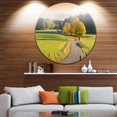 Design Art Winding Country Road in the Fall Landscape Round Circle Metal Wall Art