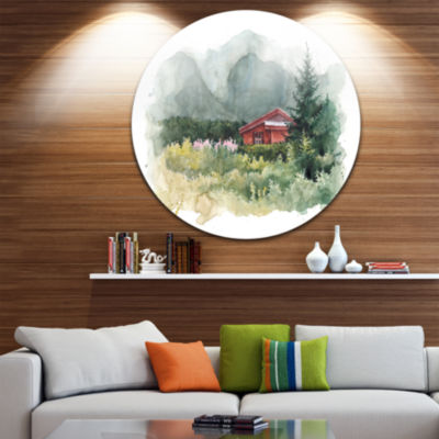 Design Art Watercolor House Aad Mountains Landscape Round Circle Metal Wall Art