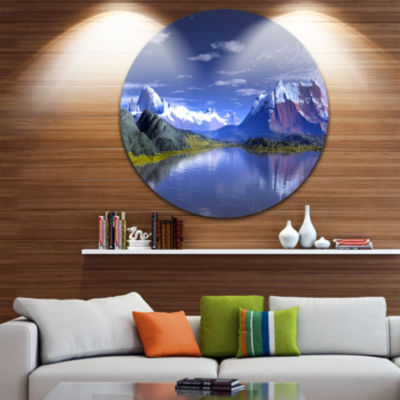 Design Art 3D Rendered Mountains and Lake Landscape Round Circle Metal Wall Art