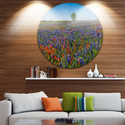 Design Art Texas Wildflowers Field Landscape RoundCircle Metal Wall Art
