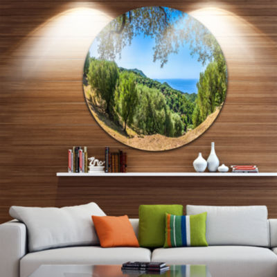 Design Art Cilentan Coast Campania Italy LandscapeRound Circle Metal Wall Art