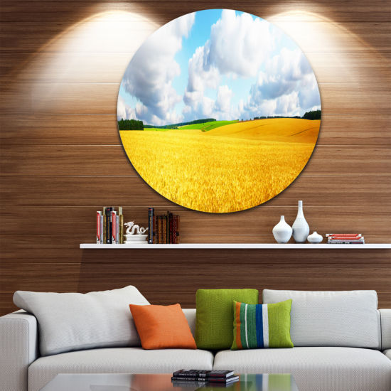 Design Art Beautiful Field Panorama Landscape Round Circle Metal Wall Art