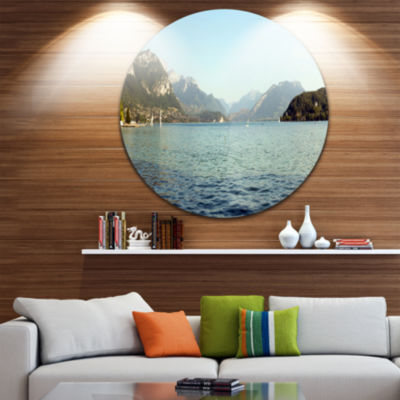 Design Art Annecy Lake France Panorama Landscape Round Circle Metal Wall Art