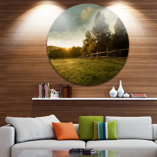 Design Art Beautiful Sunrise in the farm LandscapeRound Circle Metal Wall Art