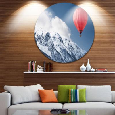 Design Art Balloon Over Winter Hills Landscape Round Circle Metal Wall Art