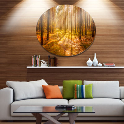 Designart Bright Sunlight in Yellow Fall Forest Disc Forest Large Metal Circle Wall Art