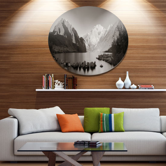 Designart Snow Mountain Lake Panorama Disc Large Landscape Metal Circle Wall Art