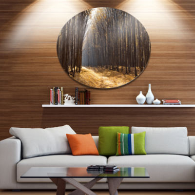 Designart Light in the Forest Path Panorama Disc Forest Metal Circle Wall Art