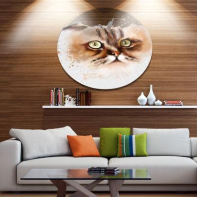 Designart Cute Brown Cat Watercolor Sketch Disc Large Animal Metal Artwork