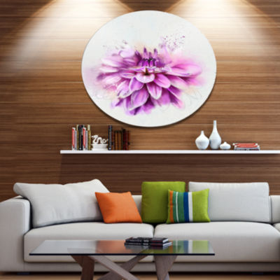 Designart Beautiful Pink Watercolor Flower Disc Floral Metal Circle Wall Art