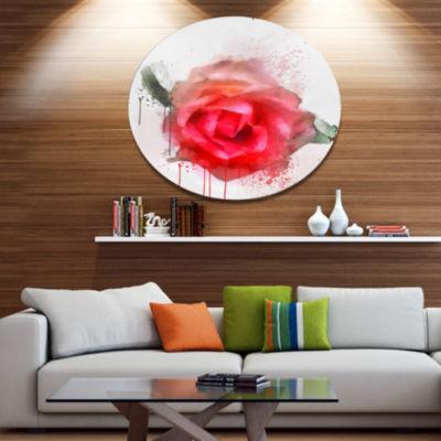Designart Beautiful Red Rose Watercolor Disc Floral Metal Circle Wall Art