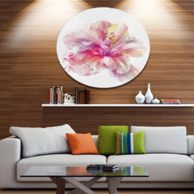 Designart Beautiful Pink Flower Watercolor Disc Floral Metal Circle Wall Art