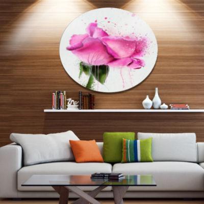 Designart Beautiful Pink Rose Watercolor Disc Floral Metal Circle Wall Art