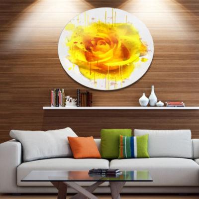 Designart Beautiful Rose in Yellow Watercolor DiscFloral Metal Circle Wall Art