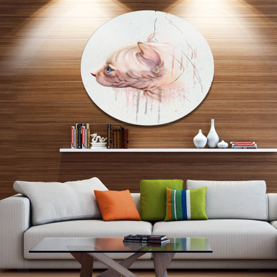 Designart Cute Sphinx Watercolor Illustration DiscLarge Animal Metal Artwork