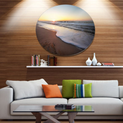 Designart Seashore under Fiery Sunset Sky Disc Seashore Metal Circle Wall Art