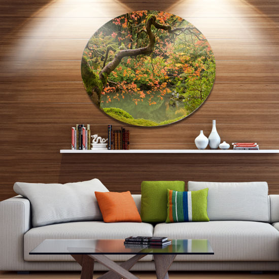 Designart Japanese Garden Fall Season Disc Large Landscape Metal Circle Wall Art