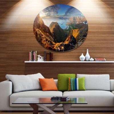Designart Ocean and Mountains Panorama Disc LargeLandscape Metal Circle Wall Art