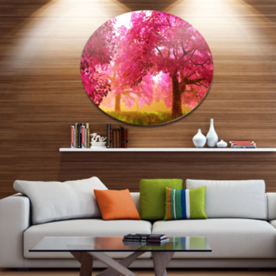 Designart Mysterious Red Cherry Blossoms Disc Large Landscape Metal Circle Wall Art