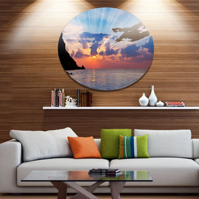 Designart Beautiful Raising Sun and Mountains DiscLarge Landscape Metal Circle Wall Art