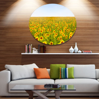 Designart Beautiful Sunflowers Garden Disc FloralMetal Circle Wall Art