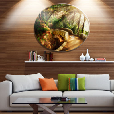 Designart Bright Sun in Mystical Park Disc Large Landscape Metal Circle Wall Art