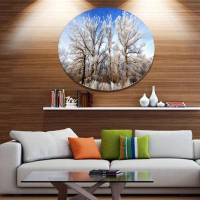 Designart Beautiful Winter Evening View Disc LargeLandscape Metal Circle Wall Art